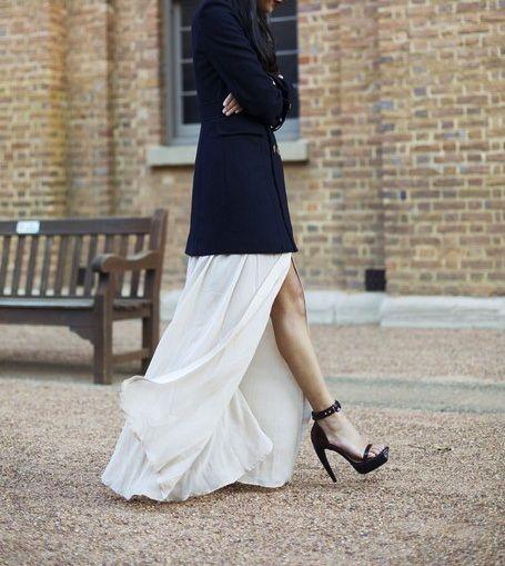 Fashion, Platform Pump, Style Inspiration, Gary Peppers, Maxis, Dresses, Long Skirts, Black Heels, White Skirts