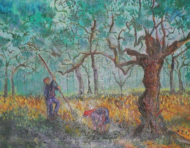 Picking Olives Painting  - Lore Rossi