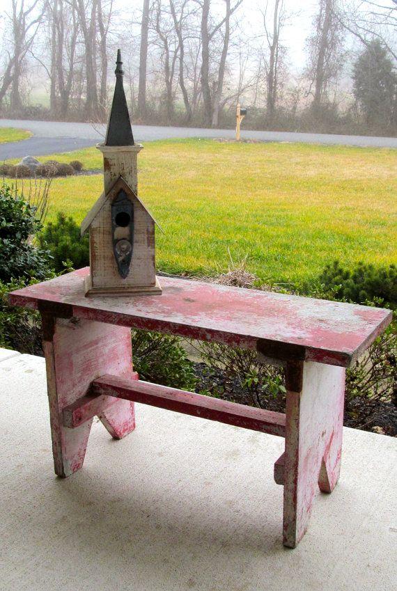 Amish wood bench antique 1960s by ShabbyFeatheredNest on Etsy, $145.00