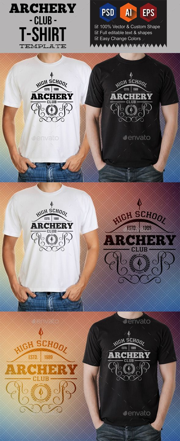 #Archery Club T-Shirt #Templates - Sports & Teams #T-Shirts Download here: https://graphicriver.net/item/archery-club-tshirt-templates/8857657?ref=alena994