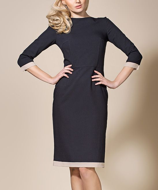 Black & Beige Trim Sheath Dress | zulily