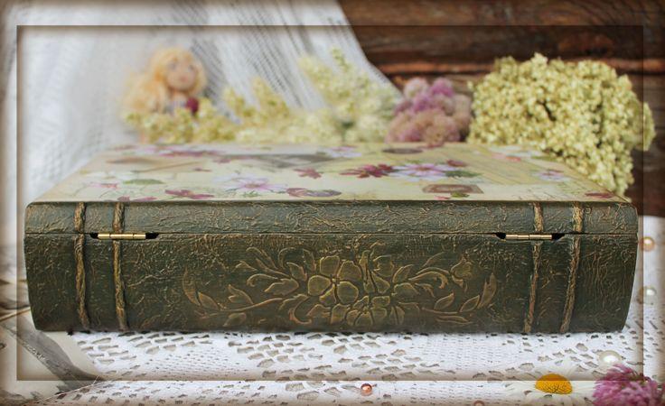 книга-шкатулка, оформление корешка