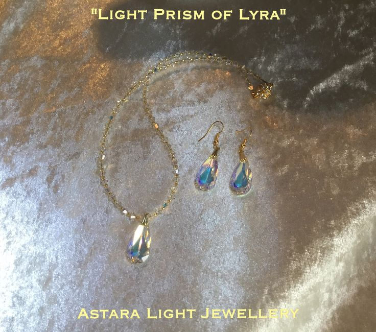 """Stunning """"Light Prism of Lyra"""" Swarovski necklace made of entirely Swarovski Crystal beads which features a teardrop Swarovski Prism $44.00 Easy magnetic Diamonte clasp!  Matching earrings available - $30.00"""