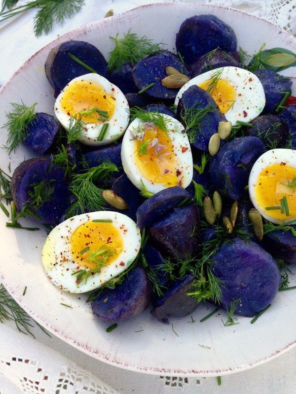 Purple Potato Salad with Soft-Boiled Eggs