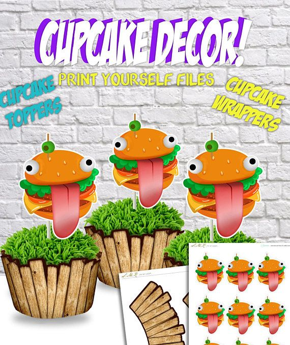 Fortnite Birthday Durr Burger Cupcake Decor Printable Party
