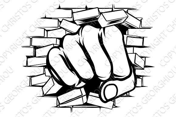 Punching Fist Through Brick Wall Brick Wall Drawing Pop Art Drawing Wall Drawing