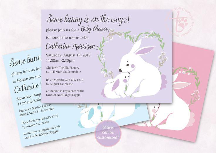 Bunny Baby Shower invitation. Boy Baby Shower. Girl Baby Shower. Lavender Baby shower. Pink baby shower. Blue baby shower. Printable invite. by TinyPawsArt on Etsy