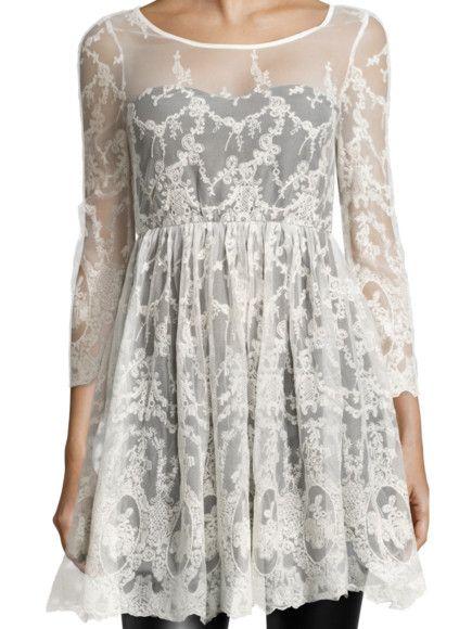REVIEW Kleid aus Spitze mit Raffungen in Offwhite | FASHION ID Online Shop