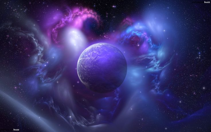 Mistic planet and colorfull space