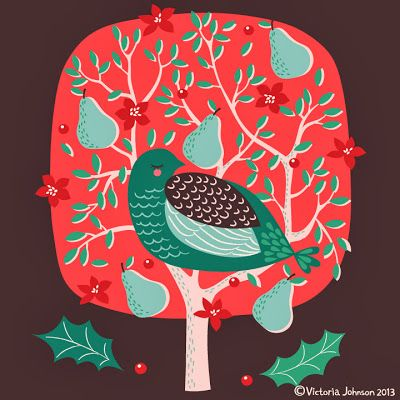 christmas, partridge in a pear tree, greeting card design, surface pattern, illustration victoriajohnsondesign.com