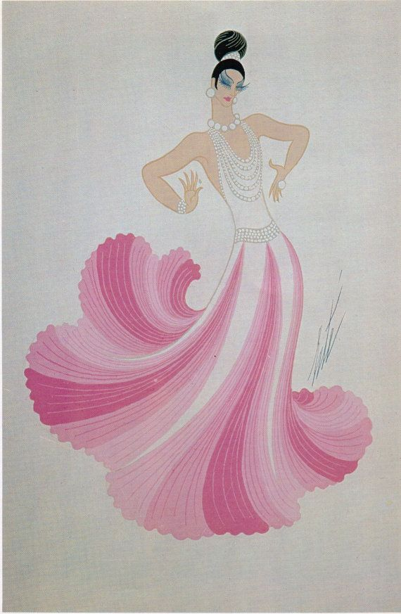Erté Art Deco Dress Design Vintage Art Paper by Victorianaprint