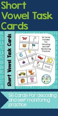 Help your beginning readers strengthen their decoding and self monitoring skills with these Short Vowel Task Cards!  Use clothespins, mini eraser, dry erase markers or other manipulative to increase engagement!