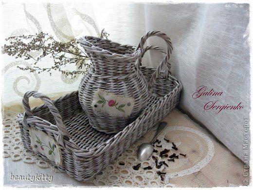 Поделка изделие Плетение White village Мешковина Трубочки бумажные фото 2