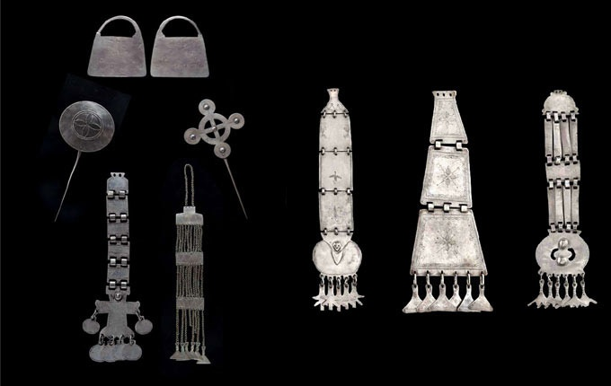 * La Pampas (Argentina) Adornment/Jewellery, 19th Century.  Earrings, Tupus, Pectorals   Silver.