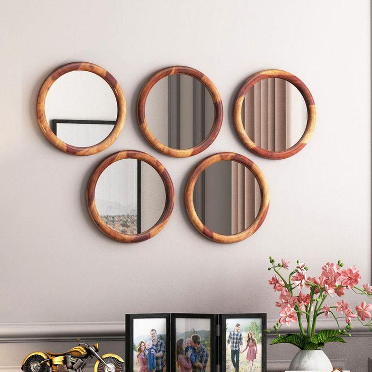 Buy Olympus Set of 5 Round Mirror with Frame (Teak Finish ...