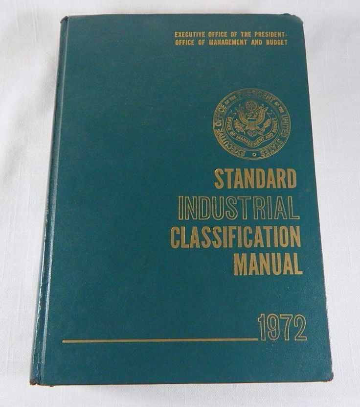 1972 Standard Industrial Classification Manual Codes Office President Book HC