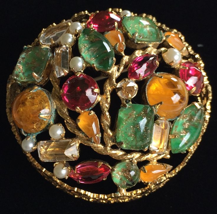 Gorgeous Vintage Schreiner N.Y Brooch Pin~Multi Color Rhinestones/Cabochons/Pearls/Gold Tone~Signed by TyTimelessSparkles on Etsy https://www.etsy.com/listing/230038512/gorgeous-vintage-schreiner-ny-brooch