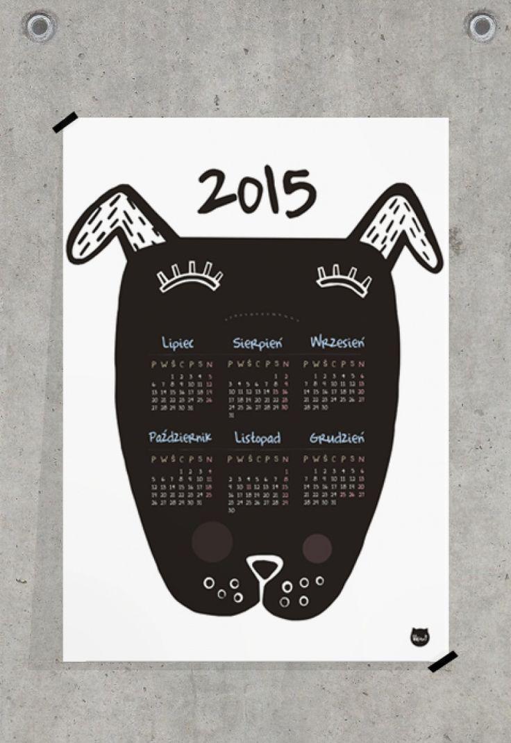 """Black Dog"" wall calendar, designed by liliput. Koci & Psi Design"