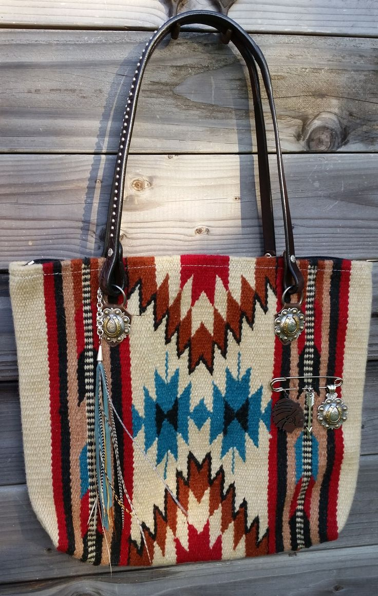 Indian chief blanket bag. Charm catcher pin and feather tassel added by Diamond 57. www.diamond57.com