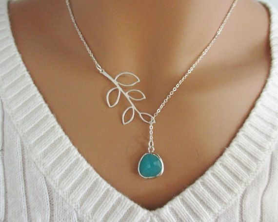 Aqua and Branch Lariat Necklace, Aquamarine Pendant, Leaf Branch Charm. $26.50, via Etsy.