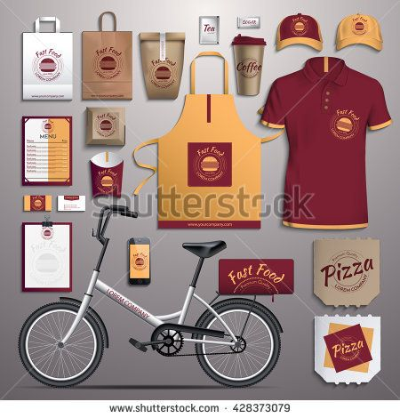 Vector illustration corporate identity, fast food, delivery bikes. Template design of corporate identity red, yellow
