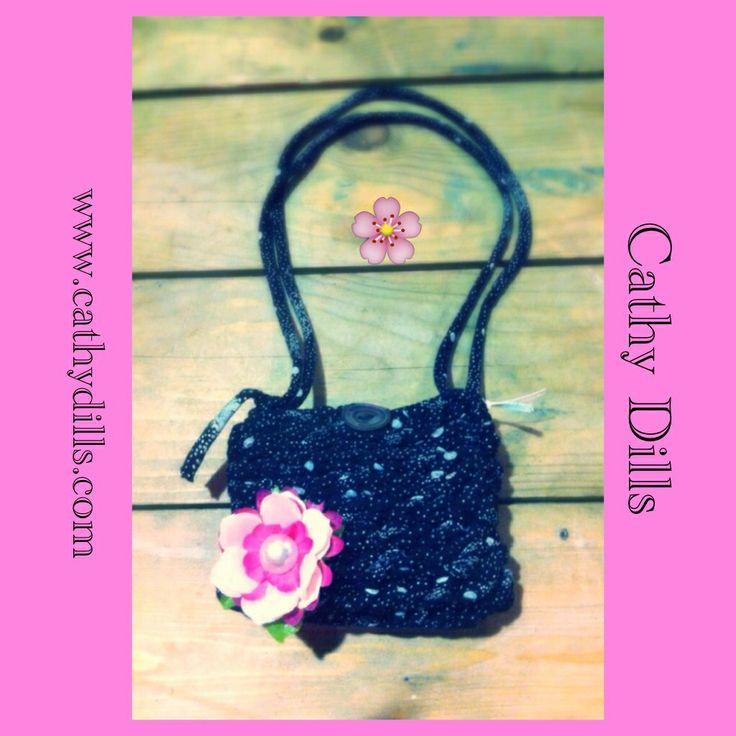 """Pink flower handbag for girls"" by Cathy Dills.  www.cathydills.com"