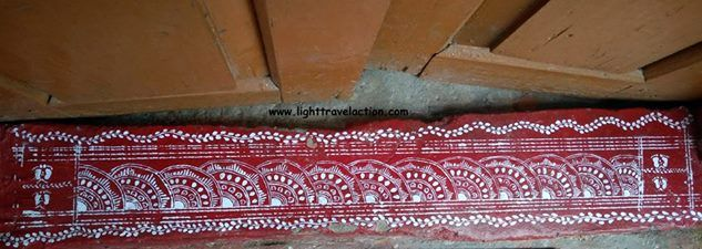 EVERY STEP HAS A STORY..err AIPAN TO TELL   'Aepan' or Aipan or Alpana is a popular art form of Kumaon in which linear art, geometrical designs, flowers and other patterns are made with the index fingers using ochre (Geru) colour and 'biswar' (rice paste for aesthetic value).