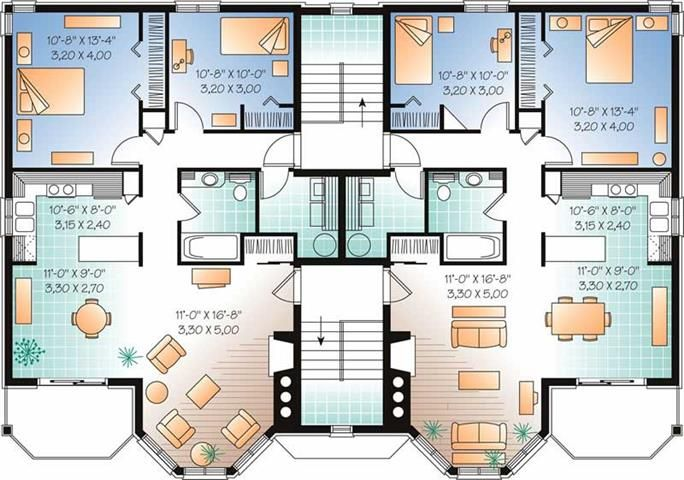 Multi Unit House Plan 126 1325 2 Bedrm 953 Sq Ft Per Unit Home Family House Plans House Plans Duplex House Plans