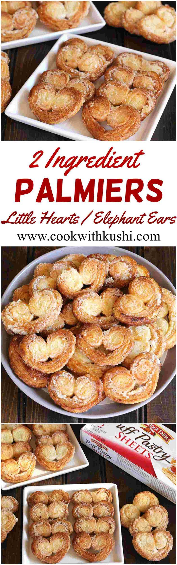 Palmiers or Little Hearts or Elephant ears are irresistibly delicious, melt in mouth crispy and flaky biscuits prepared using only 2 ingredients. These biscuits brought back many sweet memories from my childhood :-) #vegan #biscuit #appetizer #snack #vega