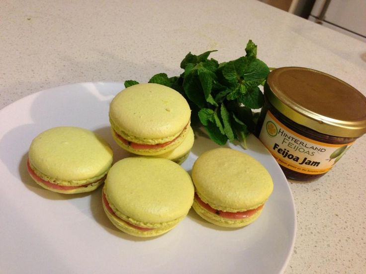 Feijoa and Mint Macarons