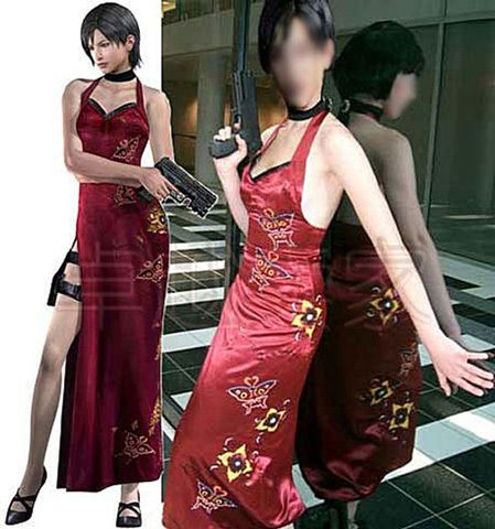 Resident Evil Ada Wong cosplay costume make-up costume prom dress ball gown dress daily wear halloween costume xmas gift for girls women lovers