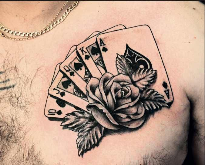 Royal Flush Card Deck with Rose Tattoo... yes, except with a perfect hand in Euchre. My family would understand.