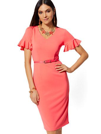 04e768690 Shop Ruffled-Sleeve Belted Sheath Dress - Magic Crepe. Find your perfect  size online