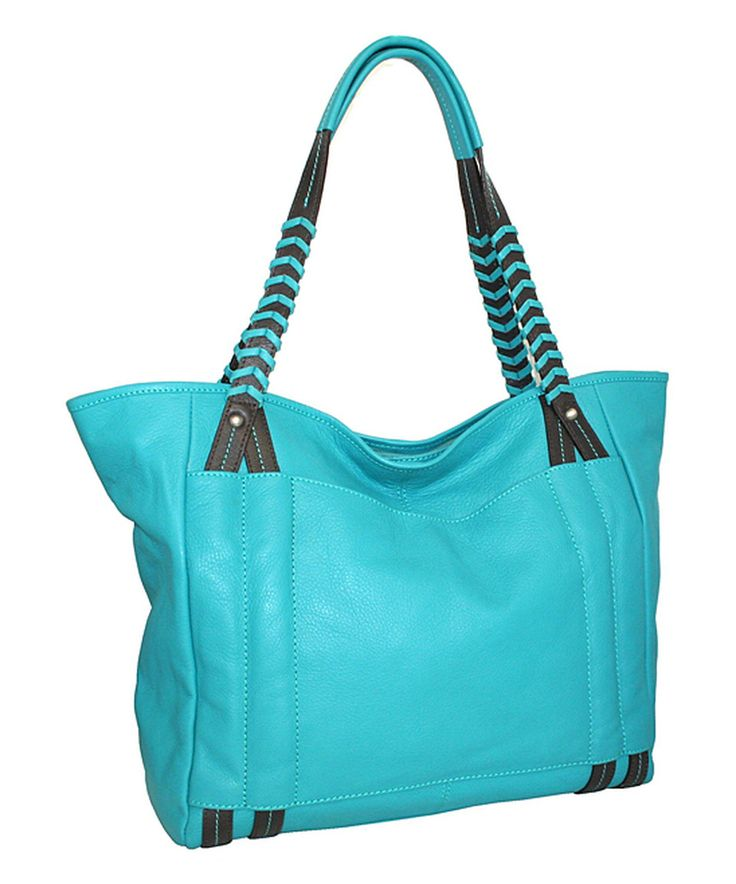 Nino Bossi Handbags Turquoise Large Whip It Leather Tote by Nino Bossi Handbags #zulily #zulilyfinds