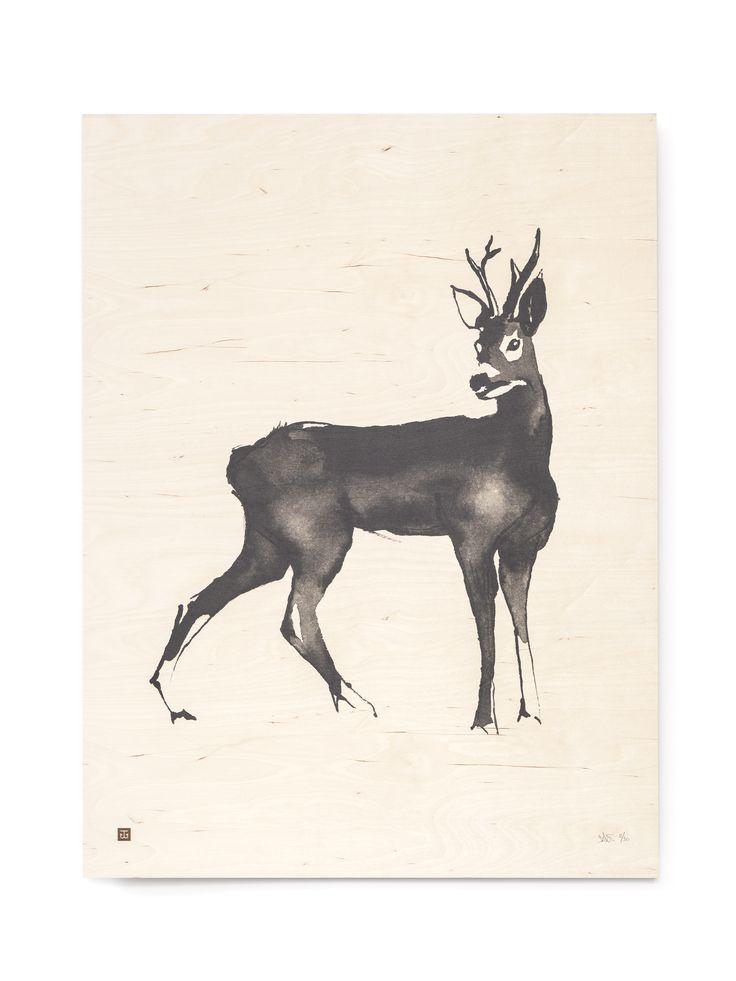 Roe Deer Fine Art Print on Wood Teemu Järvi Illustrations http://www.teemujarvi.com/en/shop/wood-prints/83-roe-deer.html Photo: Unto Rautio