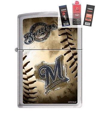 Zippo 0744 Milwaukee Brewers MLB Lighter + FUEL FLINT & WICK GIFT SET