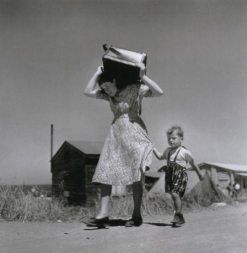Robert Capa    Haifa, Israel, 1949    From Robert Capa: The Definitive CollectionPhotos, Robert Capa, Capa Photographers, Bw Photography, Haifa, Woman Carrie, Robertcapa, Black, Gerda Taro