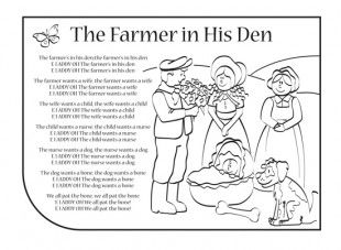 The Farmer In His Den nursery rhyme lyrics. No one wanted to be the bone at the end!