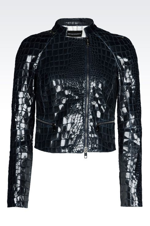 Emporio Armani Women Caban - SHORT BLOUSON IN CROC PRINT SUEDE WITH VARNISHED EFFECT Emporio Armani Official Online Store