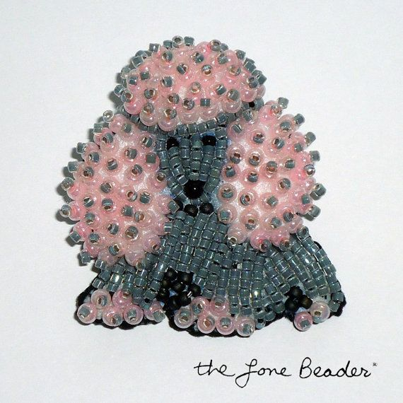 Gray & Pink Delica Beaded MINIATURE POODLE pin by thelonebeader, $75.00