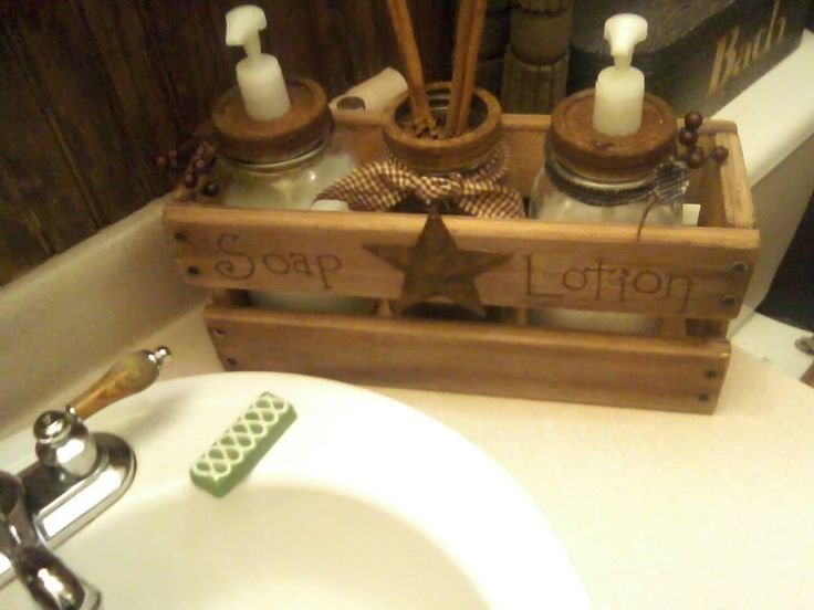 My husband made the crate and I made some soap and lotion dispensers out of mason jars.