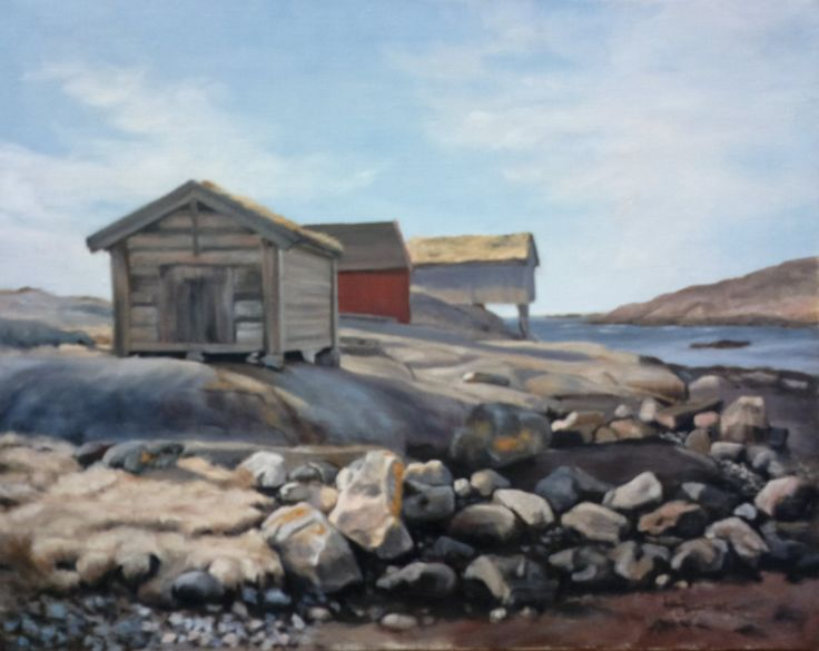 Boathouses at Utro,   oil on linen