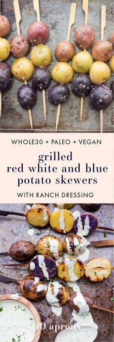 One of the best red, white, and blue side dishes! These grilled red, white, and blue potato skewers with ranch dressing are the perfect patriotic side dish. Garlicky, packed with flavor, and festive yet elegant, they go so well with burgers or brauts on the grill! One of the best red, white, and blue side dishes, these Whole30 potato skewers with ranch dressing are just delicious.