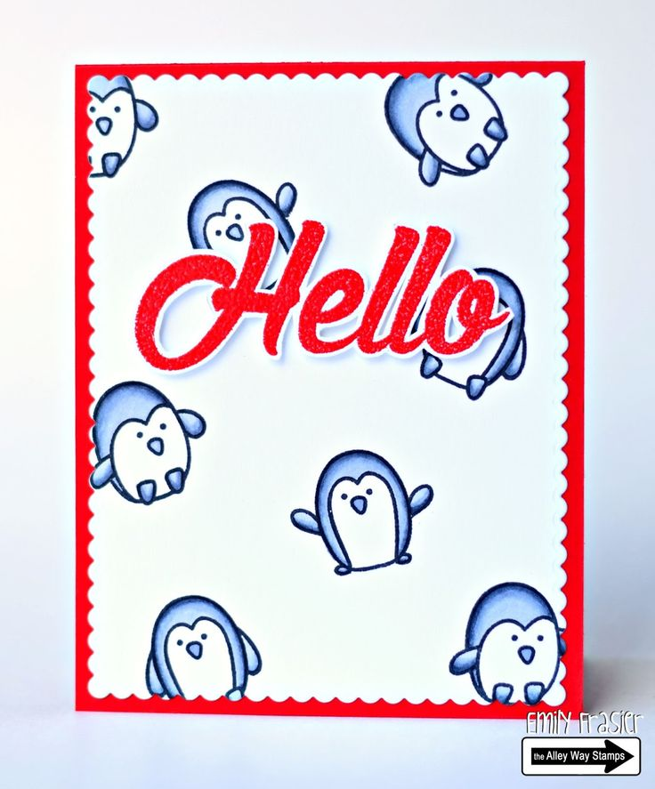 PiecesbyEmily, clear stamps, handmade card, papercrafting, TAWS, hello card