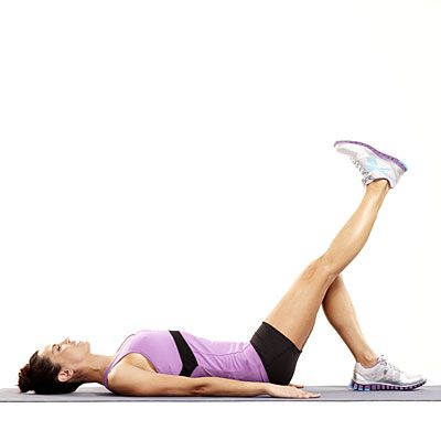 Straight leg raise: Lie down with one leg bent. Lift your straight leg up until both knees meet, then slowly lower | health.com