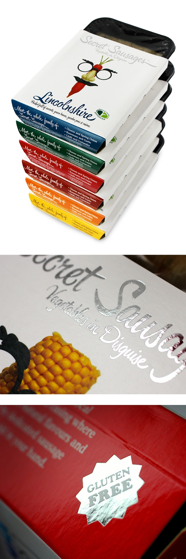 Pack Design for www.secret-sausag.... A luxury vegetarian sausages. Design by James Cameron (www.about.me/james.cameron)