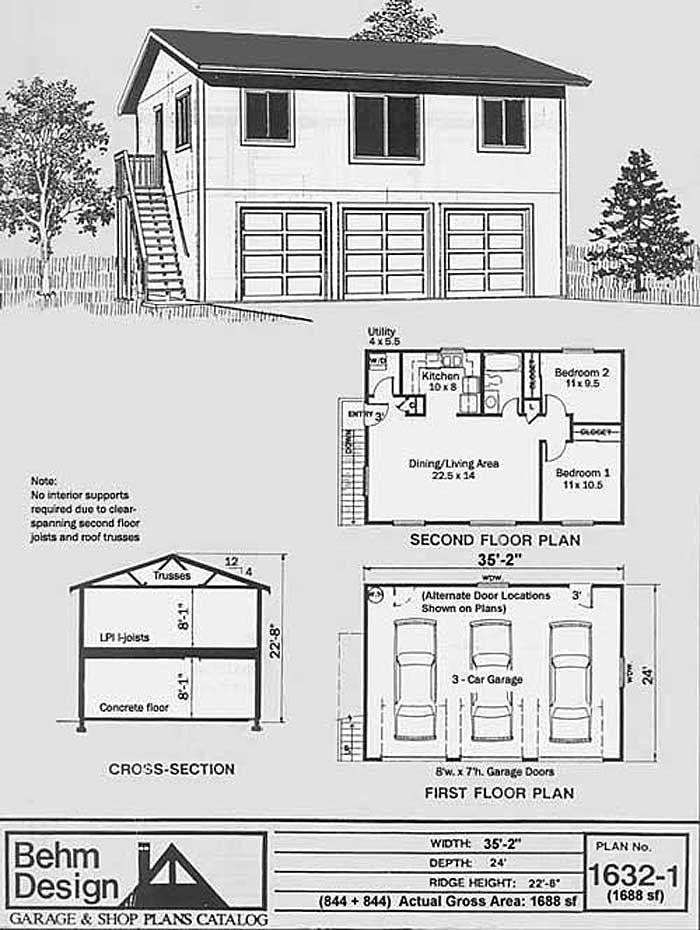 1 Car Garage Plan With Apartment No 768 1apt 32 X 24 By Behm Carriage House Plans Large Garage Plans Garage Apartment Plans