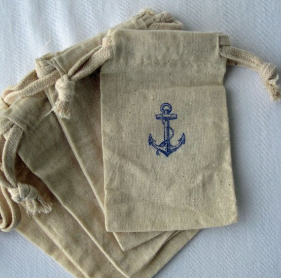 @Cathy Garland I like these better! We can make tags with our date and names! Beach Wedding Nautical Favors, 10 Anchor Wedding Favors, Cotton Favor Bags