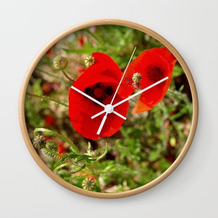 Poppy Wall Clock by Claude Latour | Society6