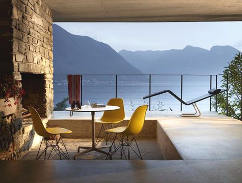 Vitra Furniture For The Garden Featuring Design Classic The Eames Plastic  Side Chair In Yellow And MVS Chaise Recliner.